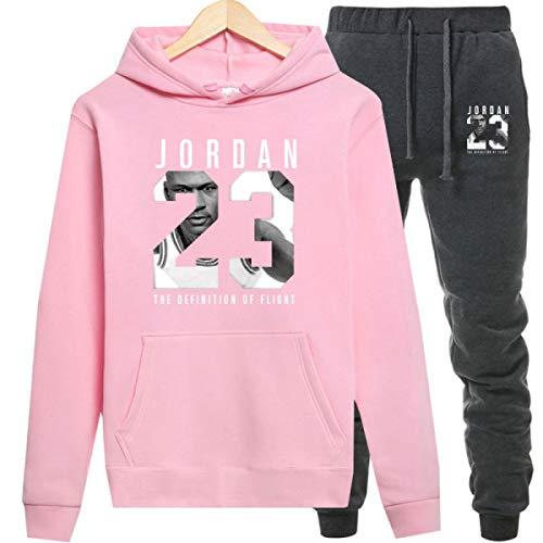 Jordan Hoodies Jordan 23 Sportwear Sets Male Sweatshirts Men Set Clothing+Pants Dark Grey Pink (Women Sweaters Jordan)