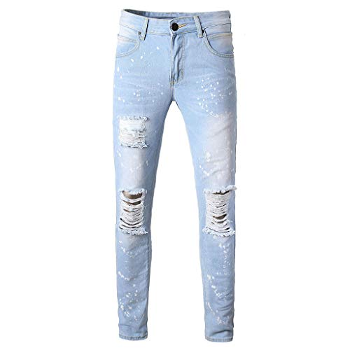 Leadmall Men's Skinny Jeans - Men Fashion Slim Fit Ripped Destroyed Knee Holes Denim Pants - Younger Boys Tapered Leg Trousers