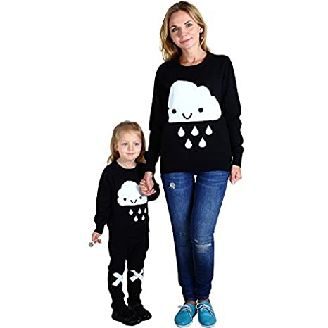 Wennikids Family Look Clothing for Mother//Daughter//Son Long-Sleeve T-Shirt Sweater Mother Large Cloud Design