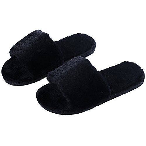 Black Fur Clogs Faux (pestor Women's Plush Soft Open Toe House Clog Slippers Spa Slide Slipper Indoor Shoes (6.5-7.5, Black))