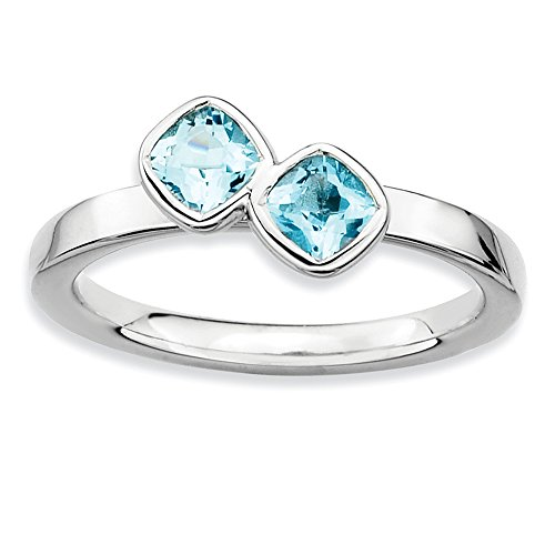 Sterling Silver Stackable Expressions Dbl Cushion Cut Blue Topaz Ring Size 6