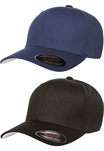 - Premium Original Flexfit V-Flexfit Cotton Twill Fitted Hat 5001 2-Pack (S-M, Black/Navy)