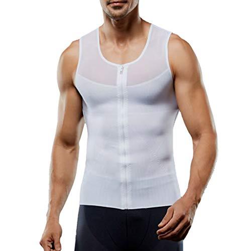 (POQOQ Tank Top Bodybuilding Gym Hooded Tank Top Workout Sleeveless Shirt Men's Muscular Cut Bodybuilding Gym Vest M White)