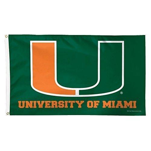 Miami Hurricanes 3x5 Flag (NCAA Miami Hurricanes Deluxe Flag, 3 x 5', Multicolor)