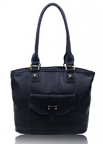 LeahWard? Ladies Fashion Designer Zip Compartment Pockets Soft Light Weight Shoulder Handbags 141101 BLACK FRONT POCKET SHOULDER BAG