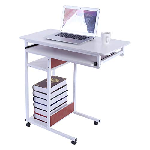Fulijie Sofa End Table Beside Table Four-Layer Storage Computer Desk Laptop Side Table Studying Desk for Home (White) ()