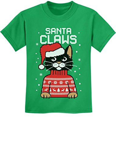 Santa Claws Ugly Christmas Sweater Cat Girls/' Fitted Kids T-Shirt Gift