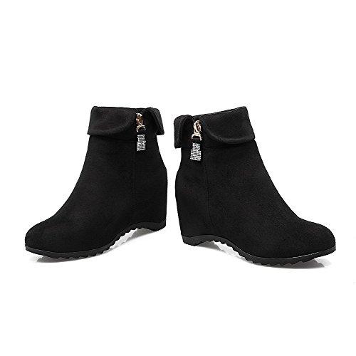 AgooLar Damen Rund Zehe Mittler Absatz Blend-Materialien Rein Ziehen auf Stiefel Schwarz