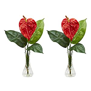 Artificial Flowers -Anthurium with Bud Vase Flower Arrangement -Set of 2 Artificial 62