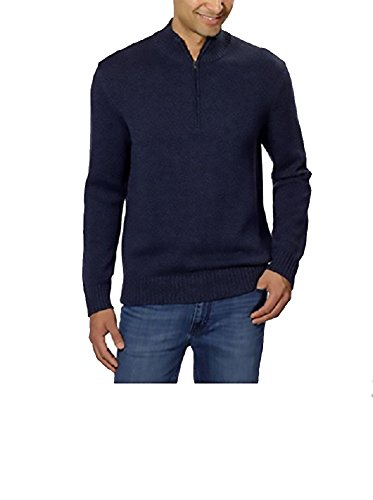 Calvin Klein Mens Quarter Zip Long Sleeve Knit Sweater, (Large, Navy Armada)