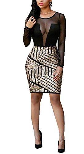 Les Femmes Sexy Manches Longues Sequin Pure Maille Moulante Clubwear Robe De Soirée Black2