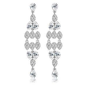 KesaPlan Women's Wedding Bridal Dangle Earrings for Women Crystal Teardrop Dangle Tassel Earrings with Sterling Silver…