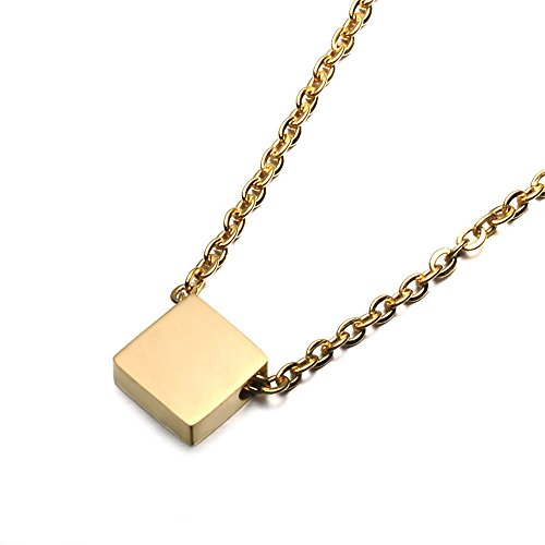 - SEVEN50 Simple Floating 0.5'' Square Pendant Necklace Silver Cube Charm 23'' Length Necklace with Gift Box (Yellow)