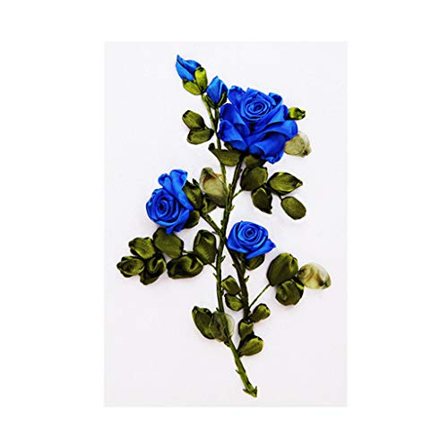 CUTICATE 3D Rose Ribbon Cross Stitch Kit Handmade Needlework Embroidery Paintings Art Crafts - Blue ()