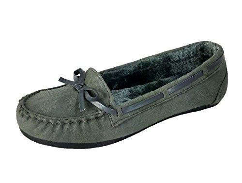 Wells Elegante Womens Casual Faux Suede Mocassin Loafers Flats Schoenen (10, Grijs)