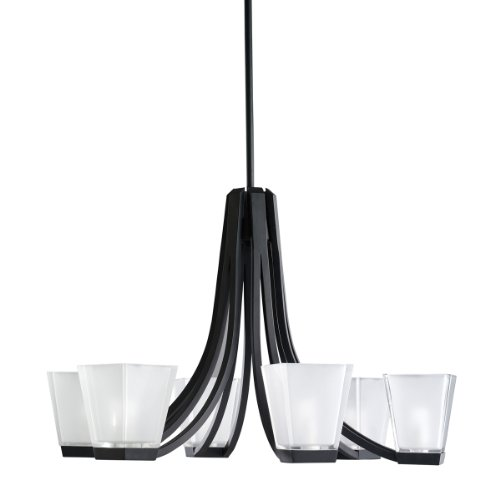 Kichler Lighting 1959BK 6-Light Urban Ice Halogen Chandelier, Black
