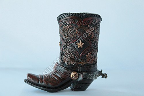 Star Toothpick Holder (Mini Western Rustic Star Concho Boot Vase Toothpick Pen Holder Tiny Cowboy Boot)