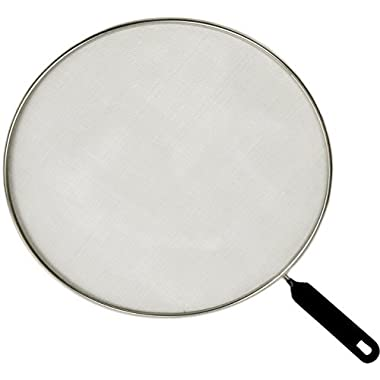 Splatter Screen - Frying Pan Splash Guard - Strainer - Protection for Your Kitchen Stove from Grease Mess - Made of Durable Stainless Steel Mesh - Plastic Handle - 11 Inches Wide Pans Cover, Set of 1