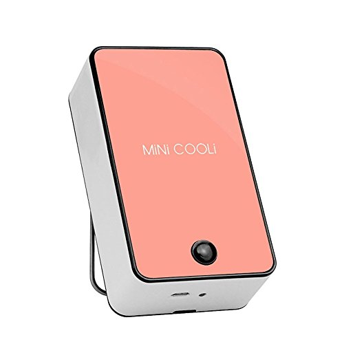 Wooboo Mini Cooli Portable USB Rechargeable HandHeld Air Conditioner Summer Cooler Fan,Batteries Powered No Leaf Fan for Kids (Pink)