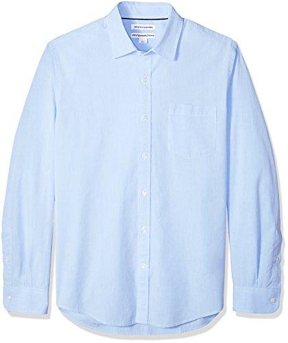 (Amazon Essentials Men's Slim-Fit Long-Sleeve Poplin Shirt, Light Blue, Medium)