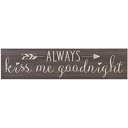 Ruskin352 Always Kiss Me Goodnight Salt Oak Family Gift Sign for livingroom entryway kitchen bedroom Gather wall art decor Print (Always Kiss Me Goodnight)