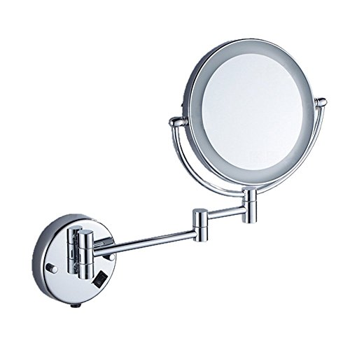 EYX Formula Magnification Mirror for Face Wash, Wall Mounted Mirror with Led Bulb(Can be charged) (Wall Accordian Mirror)