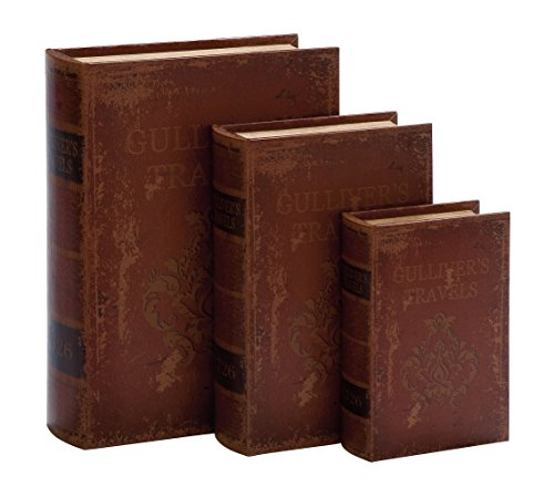 Faux Leather Book Boxes (Set Of 3), Brown