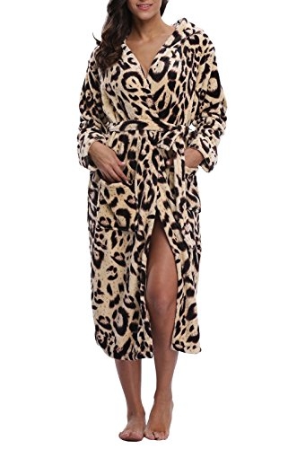 VIKEY Women's Fleece Hooded Robe,Long Bathrobe With Print