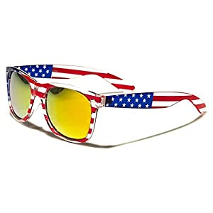 Sunglasses Classic 80's Vintage Style Design (USA Flag Revo Fire Lens)