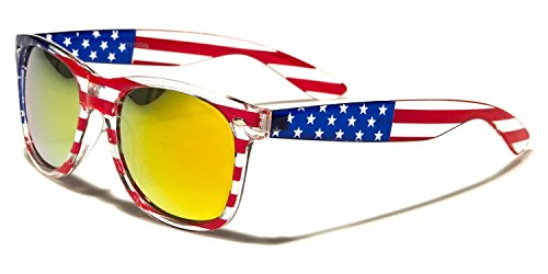 Sunglasses Classic 80's Vintage Style Design (USA Flag Revo Fire - Flag Sunglasses