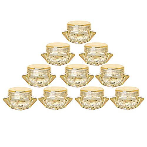 100Pcs Yellow Refillable Empty DIY Cosmetic Pot Jars Case Diamond-shape Sample Bottles Vials Container for Eye Shadow Nails Powder Jewelry Makeup Cream Lotion Storage Travel Small Jar (5G)