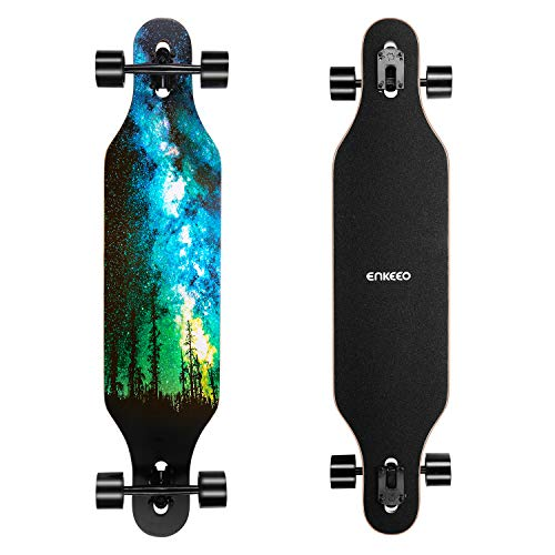 ENKEEO 40 Inch Drop-Through Longboard Skateboard Complete Cruiser for Carving Downhill Cruising Freestyle Riding (Star)
