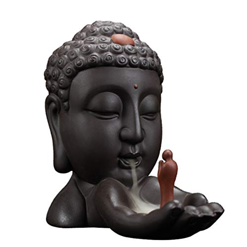 (BERTERI Backflow Incense Burner Creative Home Decoration Ceramic Buddha Incense Holder Buddhist Censer Use in Office Living Room)