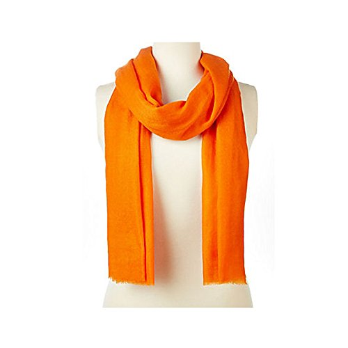 Luxurious Alpaca Cashmere Pashmina with Delicate Eyelash Fringe Detail, Hot Pink, Orange, Pink (Orange)