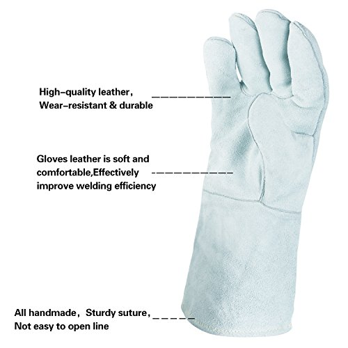 Colyn Heat & Fire Resistant Welding & BBQ Gloves, Premium Cowhide Leather Mitts For ARC TIG MIG Welders BBQ Oven Grilling Gardening Fireplace Stove Pot Holder, 14 in & 18 in, Gray (18 Inch (length)) by Colyn (Image #1)
