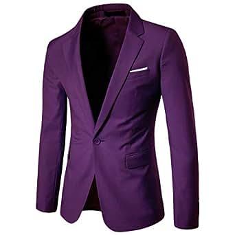 Men's Blazer Jacket Slim One Button Coat Notch Lapel Business Solid Outwear Purple XS