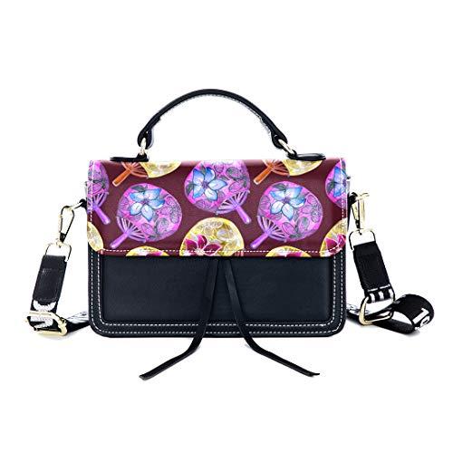Fashion Unique Handbag Fan Chinese Charm Classical Art Design Oriental Beauty Handmade Print Shoulder Bag Top Handle Tote Flap Over Satchel Purses Crossbody Bags Messenger Bags For Women Ladies
