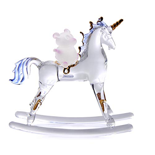 Crystal Rocking Horse Figurine - KINO 4'' Lamp Work Exquisite Rocking Rider Horse Unicorn Teddy Bear Golden Edge Glass Blown Crystal Statue Figurine Handcraft Gift