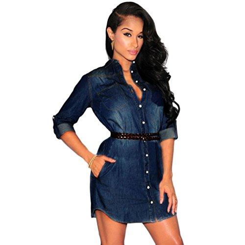 Gillberry Sexy Fashion Long Sleeve Denim Cowboy Mini Dress+Belt - Boutique Eyewear Brands