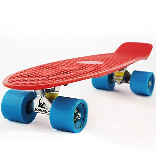 MEKETEC Skateboards Children 22 inch Complete Mini Criuser Kids Skateboard Toddler Board for Boys Girl Youth Beginners Teenagers Board Adults Patinetas Dog (Red Blue)