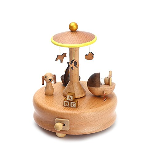 cheerfullus Wooden Music Box Baby Bed Toy Decoration Birthday Present Christmas Gift for Kids