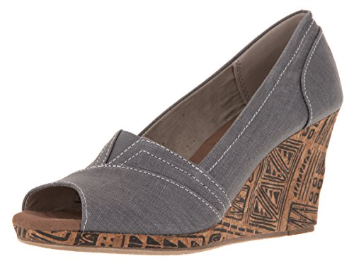Toms Women's Classic Wedge Grey Chambray Casual Shoe (8) - Toms Canvas Wedge Shoes