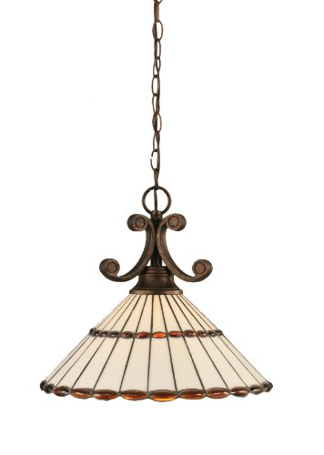 Toltec Lighting 251-BRZ-974 Curl One-Light Down light Pendant Bronze Finish with Honey Glass and Amber Brown Tiffany Glass, 16-Inch