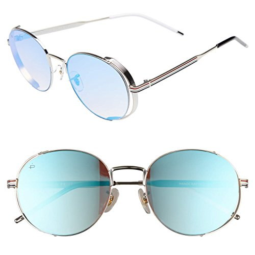 "PRIVÉ REVAUX ICON Collection ""The Riviera"" Handcrafted Designer Round Sunglasses (Blue)"