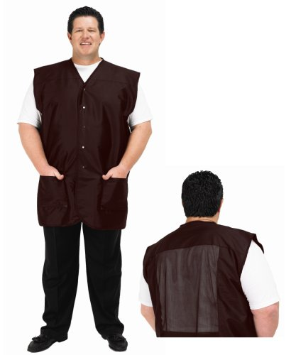 (A Size Above Big & Tall Vented Mesh Back Barber Vest, Chocolate Brown, 1X)