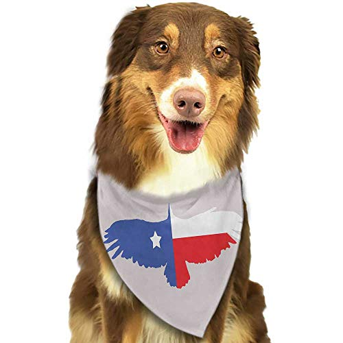 Colored pet Scarf Texas Star Bald Eagle Silhouette with Lone Star Wings of Freedom Animal W27.5 xL12 Scarf for Small and Medium Dogs and Cats ()