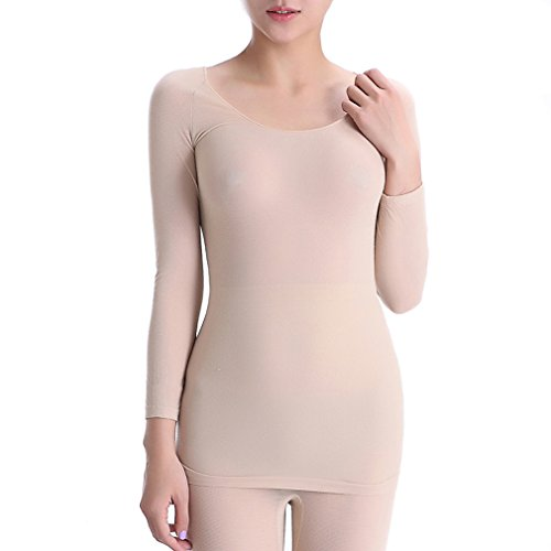 Fimage Women's Ultra Thin High Elasticity Soft Seamless Thermal Underwear Tops Skin F