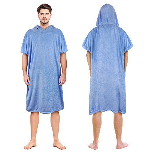 Poncho,Super Water Absorbent Wetsuit Changing Towel Robe with Hood for Adults Men Women Sand-Proof Surfing Swimming Bathing Blue ()