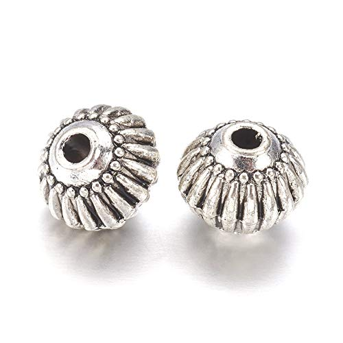 Fashewelry 20Pcs Antique Silver Lantern Spacer Beads 8x6.5mm Metal Charm Beads for DIY Jewelry Craft - Melon Silver Beads