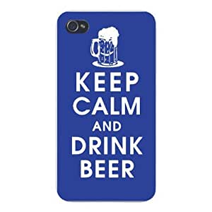 Apple Iphone Custom Case 6 plus 5.5 White Plastic Snap on - Keep Calm and Drink Beer w/ Foaming Glass Mug